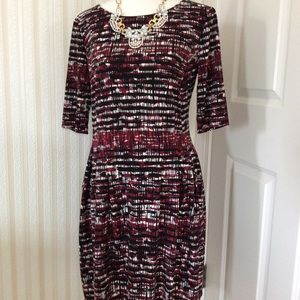 Burgundy Print Knee Length Dress Size 6